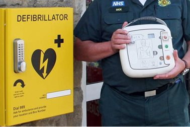 Dick Tracey of South Central Ambulance Service with the new defibrillator